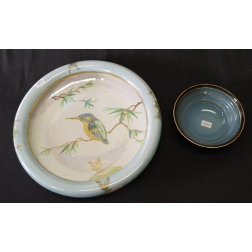 1041 - Large Carlton Ware 'Kingfisher' Float bowl together with a smaller bowl, both with a lustre finish. ...