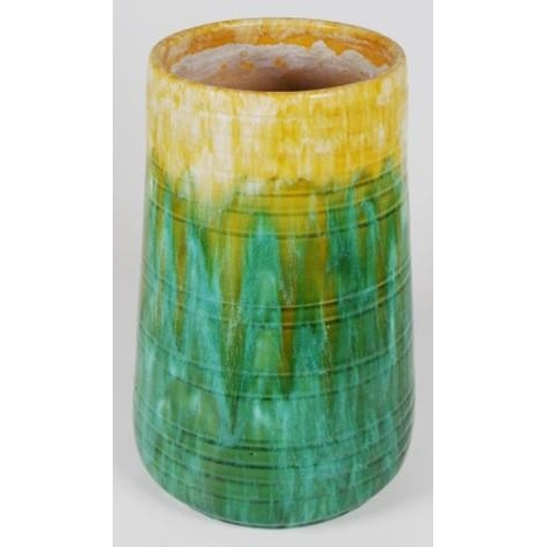 1044 - Large John Campbell Australian pottery vase green and yellow glaze decoration, inscribed signature t...