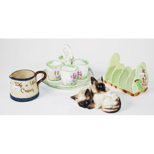 1052 - Beswick kitten figurine together with Carlton Ware toast rack, eggcup cruet & a motto ware jug...
