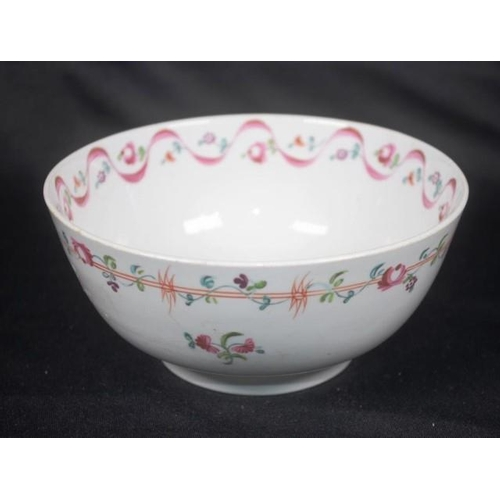 1061 - Antique Newhall porcelain slops bowl, C:1800 pink ribbon and floral decoration, (height 7cm, diamete...