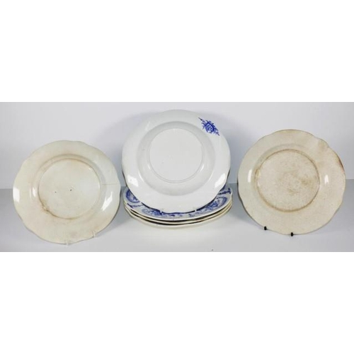 1062 - Six pieces early Victorian Brameld dinnerware each with classical blue and white decoration of figur...