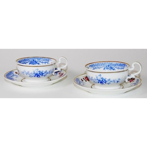 1071 - Pair antique Ridgeway cups and saucers hand painted floral decoration, with blue lace decorated bord...