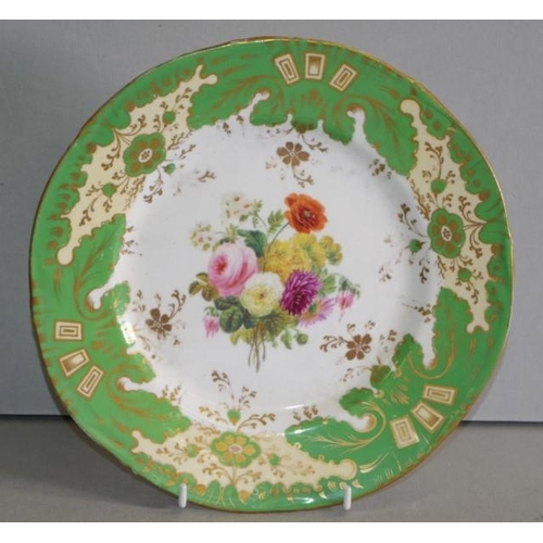 1074 - Rockingham porcelain plate circa 1830, with hand painted roses with dahlias centre and green ground ...