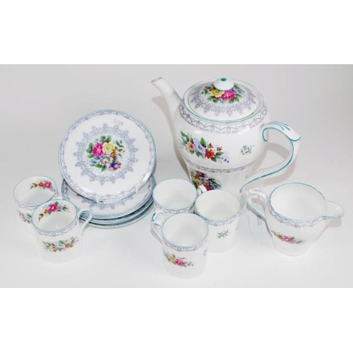 1077 - Thirteen piece Shelley 'Crochet' part coffee set including 5 each coffee cups and saucers, 1 additio...