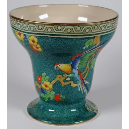 1088 - Losol Ware 'Andes' vase and plate handpainted with parrots on a green ground, the vase being 16cm ta...