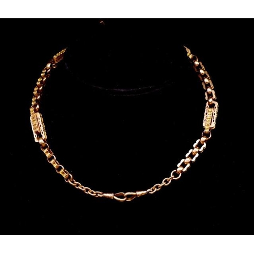 11 - Antique fancy link 9ct rose gold Albert chain marked 9c. approx weight 42.7 grams, length 44cm. Circ...