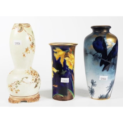 1103 - Three assorted Victorian ceramic vases comprising Royal Burslem, Royal Vienna & Coronaware, 19cm hig...