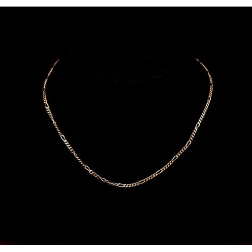 114 - 9ct yellow gold figaro chain necklace marked 375 approx weight 7.9 grams, 44cm length...