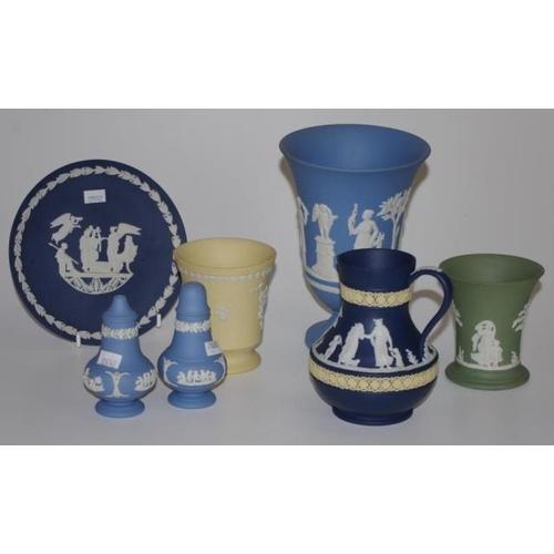 1143 - Seven Wedgwood Jasperware ceramics comprising 3 vases, jug, salt & pepper & a plate...