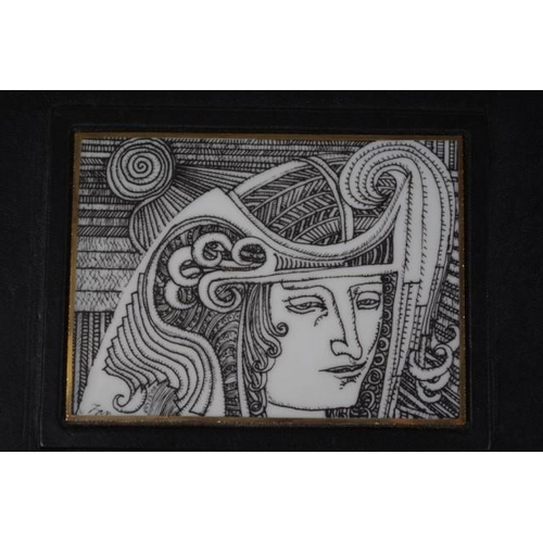 1148 - Three Hollohaza Hungary ceramic pieces including mantle vase, black figural decoration on white grou...