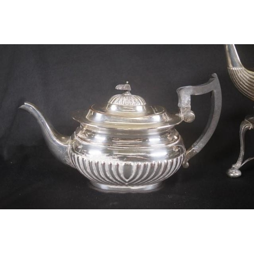 1155 - Good four piece silver plate teaset including teapot, kettle on stand with burner, milk jug, and sug...