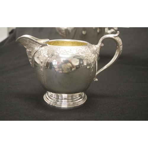 1156 - Antique Canadian silver four piece coffee set hallmarked for circa 1867, marked for Birks Sterling. ...