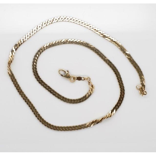 116 - 9ct yellow gold flat Cuban link necklace marked 9k Canada approx weight 8.8grams, 44cm length...