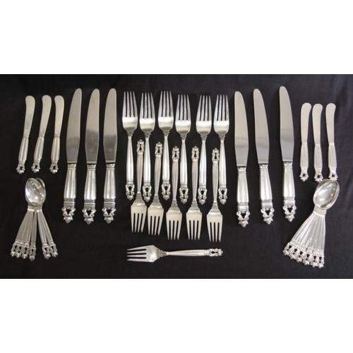 1160 - Georg Jenson sterling silver cutlery set pattern: Acorn, stamped Georg Jenson sterling Denmark, thir...