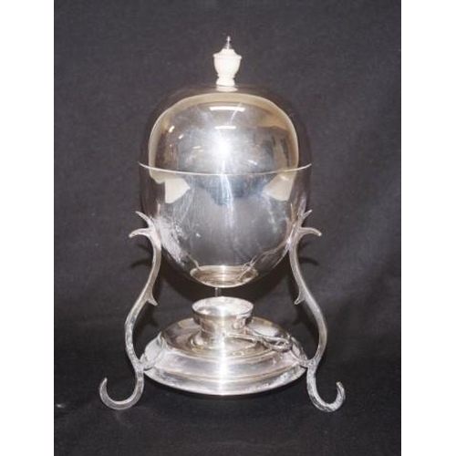 1171 - Vintage silver plate egg coddler lidded bowl, with internal egg rack, on tri-footed stand, with burn...