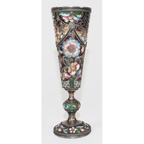 1177 - Good Russian silver & enamel Kiddush cup stamped Moscow 91, maker: Mikhail Fyodoravich Sokolov, with...