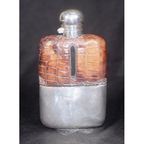 1182 - Edward VII sterling silver & glass whisky flask Sheffield 1906, makers Frederick Asman & Co, leather...