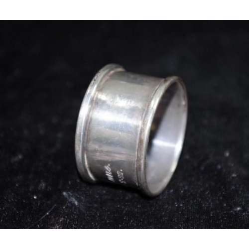 1183 - Australian sterling silver napkin ring marked 925/sterling, maker's mark rubbed, (possibly Hardy Bro...