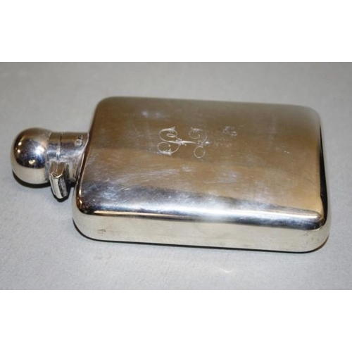 1190 - George V sterling silver whisky flask Chester 1912, makers Stokes and Ireland, monogrammed, (height ...