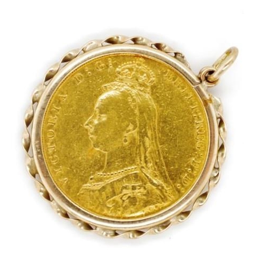 12 - Victorian 1890 Melbourne gold Sovereign pendant the setting has rubbed 375 marks. Approx total weigh...