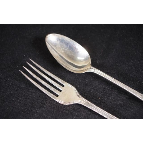 1214 - Georgian sterling silver spoon & fork spoon hallmarked for London 1793, and fork of similar design d...