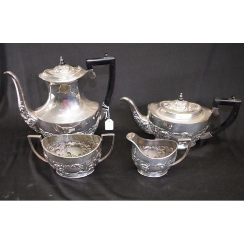 1219 - Good Sheffield silver plate tea & coffee set including coffee pot, (height 24cm approx), a teapot, c...