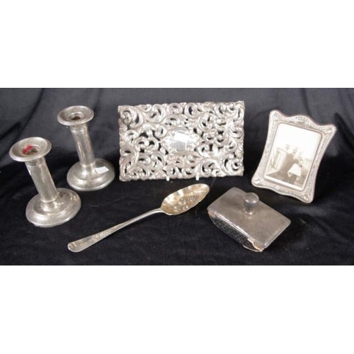 1220 - Quantity of sterling silver items including photo frame, blotter, berry spoon, book decoration & pai...