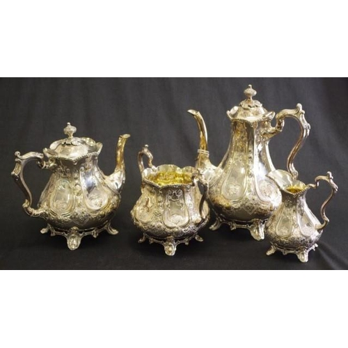 1222 - Vintage silver plate four piece coffee/tea set embossed decoration, to coffee pot, (height 26cm appr...