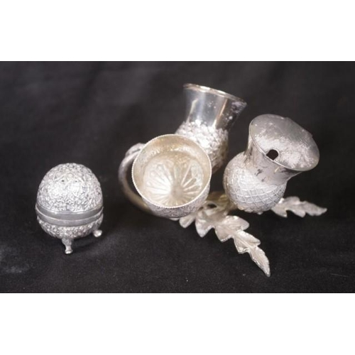 1252 - Vintage three piece thistle form condiment set silver plate, thistle form salt, pepper, and mustard ...