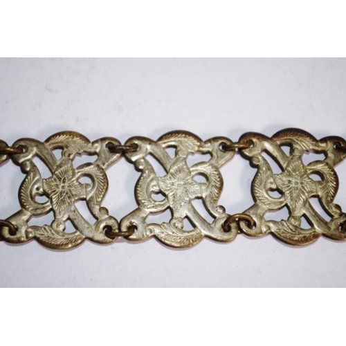 1255 - Two various vintage silver plate belts including decorated sectional belt, marked 40%; and another b...