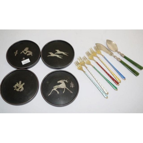 1260 - Six Danish sterling silver & enamel oyster forks together with four Swedish silver inlay coasters, a...