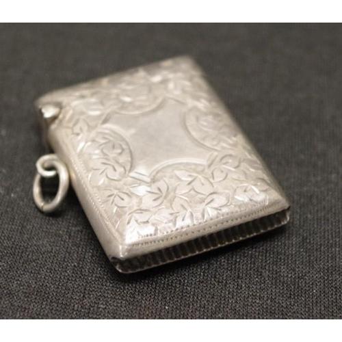1272 - Edwardian sterling silver vesta engraved decoration, hallmarked Birmingham 1914....