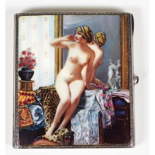 1275 - Continental sterling silver &enamel cigarette case circa 1925, the cover depicting a nude lady seate...