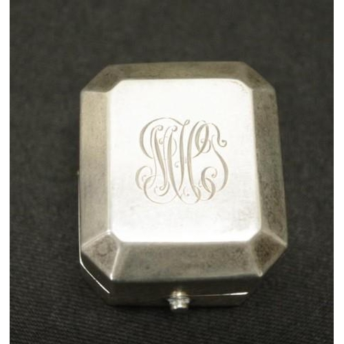1279 - Sterling silver ring box initialed to top, marked STERLING and Birks....