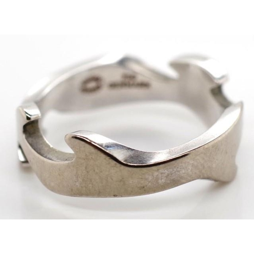 128 - Georg Jensen 18ct white gold Fusion ring marked post 1945, 750, #48 NK. Approx weight 5.4 grams weig...