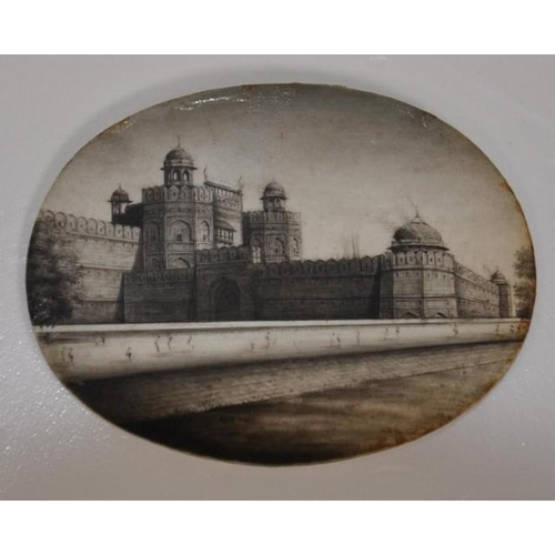 1282 - Antique miniature of the Rahjasthan fort on ivory 6cm wide approx., This item may not be exported wi...
