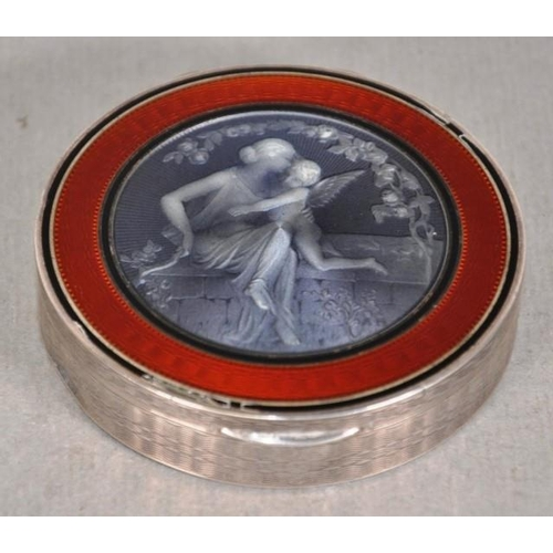1284 - Continental silver & enamel powder box enamel decoration of Psyche and Cupid to lid, (small enamel l...