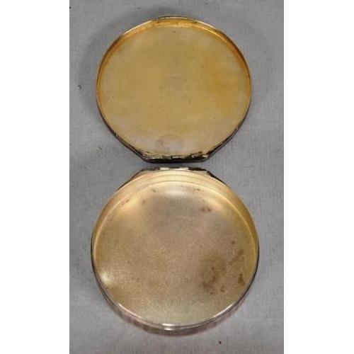 1284 - Continental silver & enamel powder box enamel decoration of Psyche and Cupid to lid, (small enamel l...