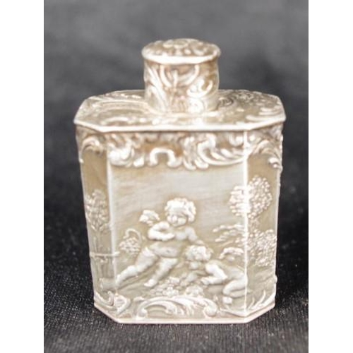 1290 - Continental silver perfume bottle with Pseudo Augsburg and  London mark to base, with raised Cherub ...