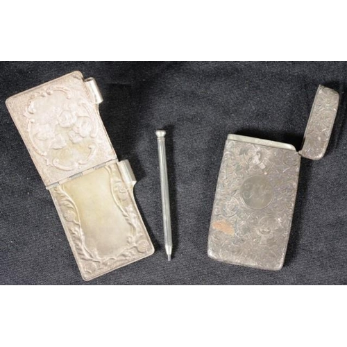 1291 - Victorian silver card case hallmarked Birmingham 1883 together with a silver plate Choir of Angels a...