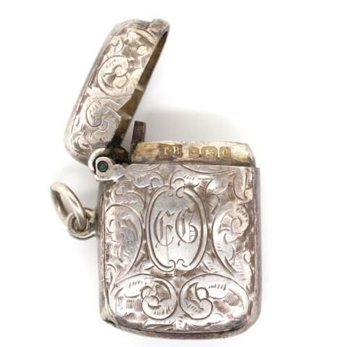 1299 - Edwardian sterling silver vesta marked JB Birmingham 1904 approx weight 13 grams...