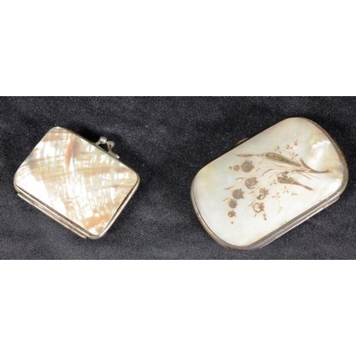 1302 - Two Victorian mother of pearl purses...