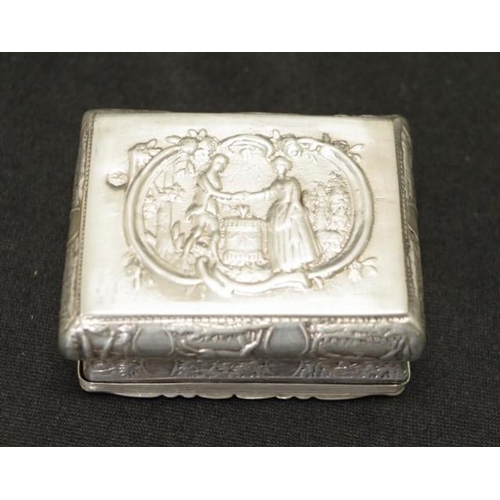 1306 - Hallmarked continental sterling silver trinket box embossed Courting Couple and rural scene decorati...