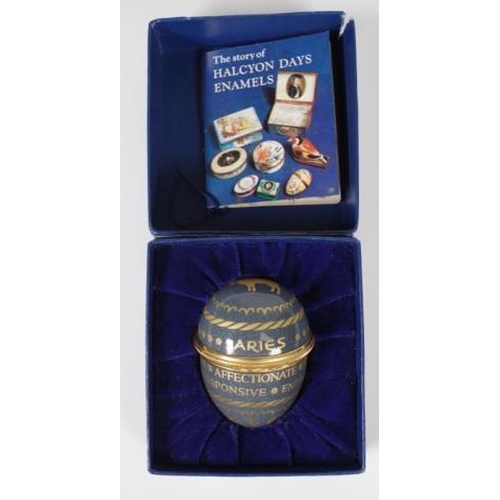 1307 - Halcyon Days 'Aries' enamel egg in original packaging, (height 6cm approx)....