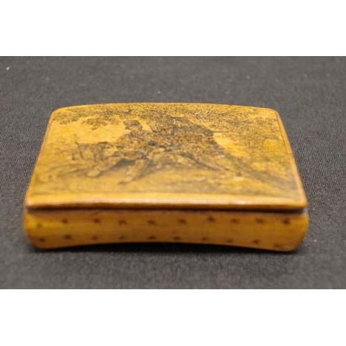 1308 - Antique decorated wood snuff box lid with painted hunter figure with his dogs, (length 8cm approx)....