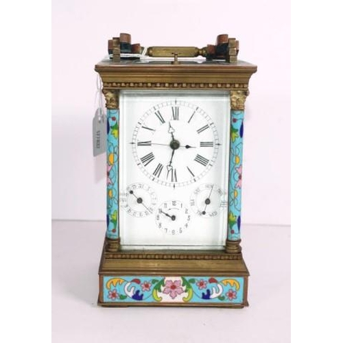 1314 - Chinese brass & cloisonne decorated carriage clock enamel dial with 3 subordinate dials, repeater ac...