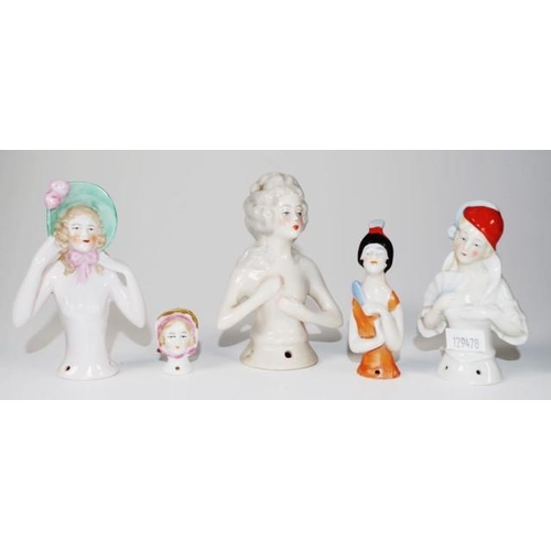 1315 - Five various German half dolls height 11cm approx (tallest)...