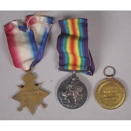 1327 - Three WWI medals comprising of 1914-15 Star (H. DUSTAN STD. M.F.A.), British War Medal, 1914-18 (H. ...