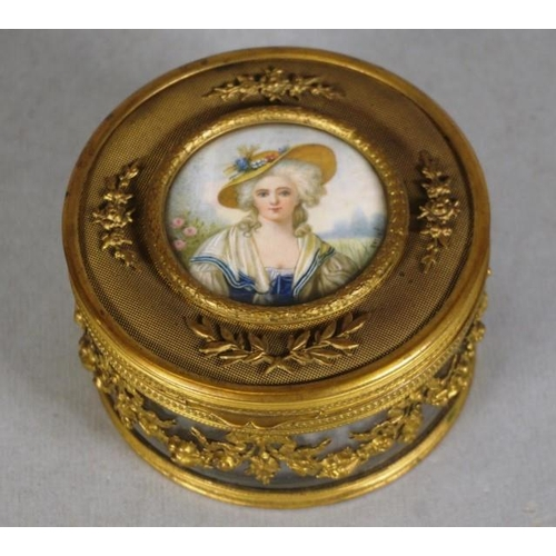 1332 - Antique French gilt brass jewel case lid decorated with inset portrait miniature of a woman in perio...
