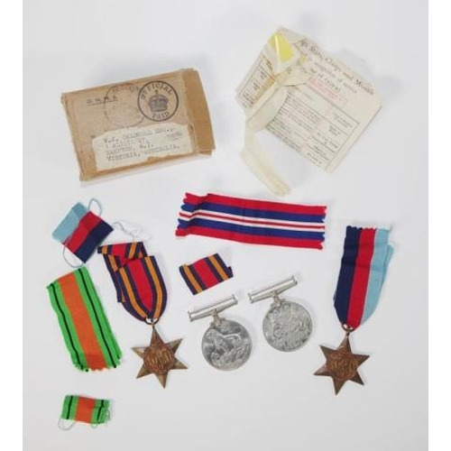1336 - Four WWII Military medals & ribbons no name stamped...